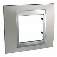 Рамка одномоместная Schneider electric Unica TOP Metall(металическая) Никель матовый/алюминий