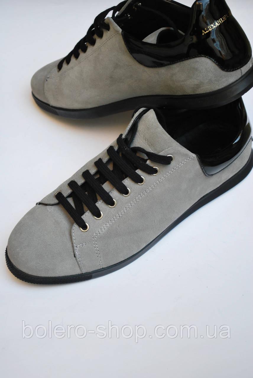 55287600 Мужские кеды осенние Alexander McQueen серые кожаные размер 44;45 - Магазин  брендовой женской и