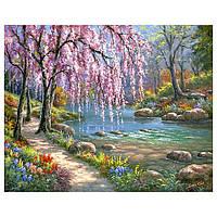 """Картина для рисования камнями Diamond painting Алмазная вышивка """"Цветущее дерево у реки"""" полная, фото 1"""