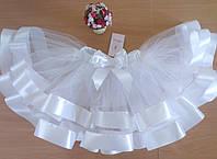 Юбка пачка с широкими атласными лентами белая