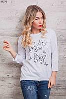 Кофта женская с принтом Бабочки цвет белый p.44-48 A59270-2
