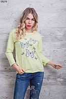 Кофта женская с принтом Бабочки цвет пудра p.44-48 A59270-4