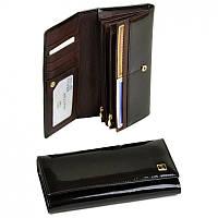 Темно-коричневый лаковый женский кошелек Gold/W501/d-coffee кожаный на кнопке, фото 1