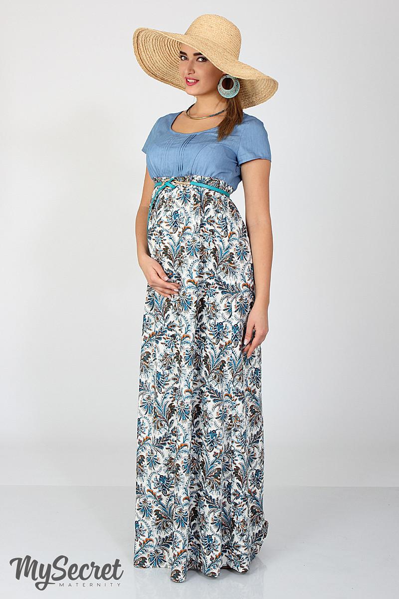 3d1d5e601287 Длинное платье для беременных и кормления Milana, голубой джинс с штапелем  цветы морская волна с