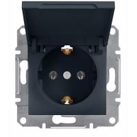 Розетка с заземлением и крышкой Schneider Electric-Asfora антрацит