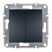 Выключатель двухклавишный Schneider Electric-Asfora антрацит