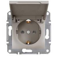 Розетка Schneider-Electric Asfora Plus с крышкой, заземлением бронза