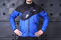 Барсетка мужская, сумка через плечо, на пояс, бананка, синий
