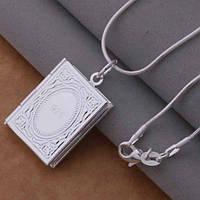 Подвеска на цепочке Медальон в форме книжки покрытие серебром 925 пробы