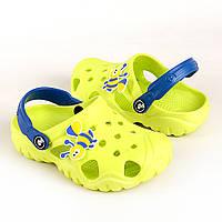 Сабо - кроксы детские лимонный с синим