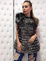 Жилет из натурального меха чернобурки 42 размер SV 108