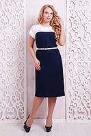 Льняное темно-синее платье Меррил ТМ Таtiana 56-60 размеры