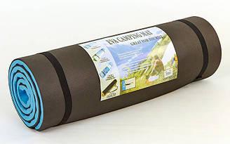 Каремат туристический EVA двухслойный 15мм (р-р 1,8x0,6мx1,7см, черный-голубой)