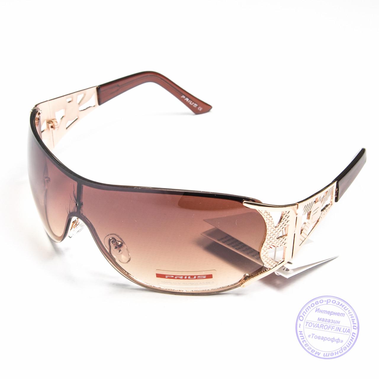 Оптом женские солнцезащитные очки-маска - Золотистые - P2814