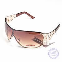 Оптом женские солнцезащитные очки-маска - Золотистые - P2814, фото 1