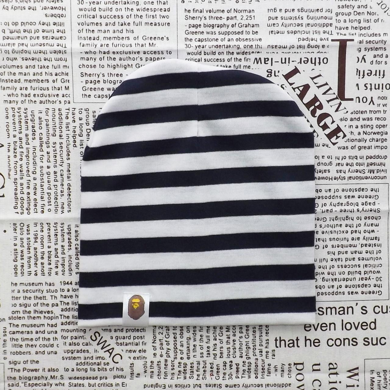 Варе Kids шапка детская демисезонная белая с чернено - синими полосками