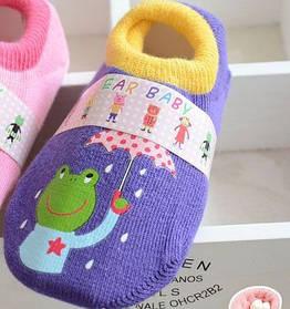 Носки - следы антискользящие Dear Baby Фиолетовые с лягушкой