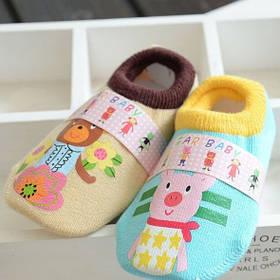 Носки - следы антискользящие Dear Baby Бежевые с мишкой