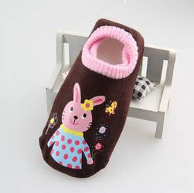 Носки - следы антискользящие Dear Baby Коричневые с зайчиками