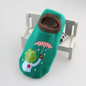 Носки - следы антискользящие Dear Baby Зеленые с лягушкой