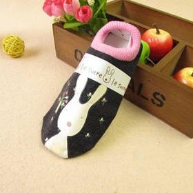 Носки - следы антискользящие Le Sucre черные с розовой резинкой