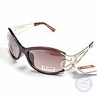 Оптом женские солнцезащитные очки-маска - Золотистые - 5393