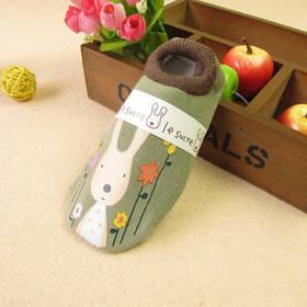 Носки - следы антискользящие Le Sucre Коричневые зеленой резинкой