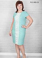 Женское льняное платье с коротким рукавом размер 50-60 / большого размера