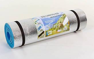 Каремат туристический EVA однослойный фoльгированный 10мм (р-р 1,8x0,6мx1см, голубой)