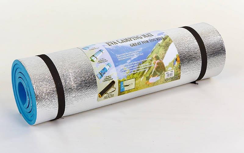 Каремат туристический EVA однослойный фoльгированный 10мм (р-р 1,8x0,6мx1см, голубой) - ADX.IN.UA в Одессе