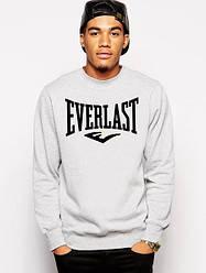 Спортивная кофта Everlast, Еверласт, свитшот, трикотаж, мужской, серого цвета, копия