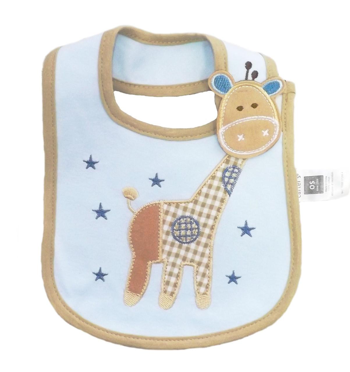 Слюнявчик непромокаемый Жираф (голубой фон)