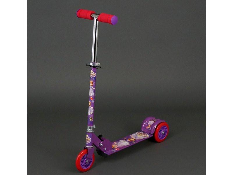 Самокат детский ФИОЛЕТОВЫЙ СОФИЯ, металлический, колеса PVC d-12.5см, 466-363ФИОЛ