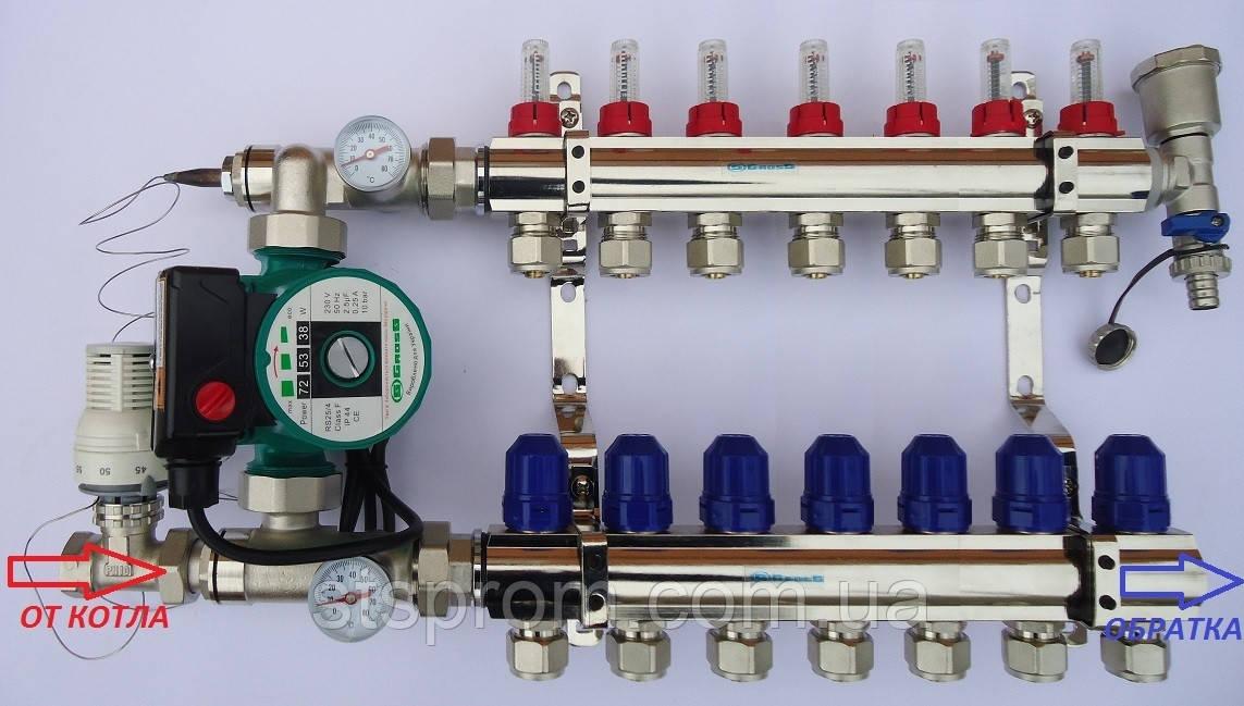 Коллектор на 7 выходов для теплого пола со стандартным узлом