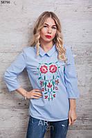 Блузка женская с вышивкой цвет голубой p.44-48 A58790-1