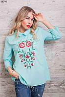 Блузка женская с вышивкой цвет ментол p.44-48 A58790-4