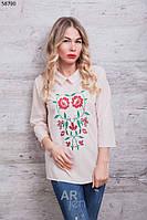 Блузка женская с вышивкой цвет бежевый p.44-48 A58790-5