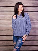 Трендовая рубашка в мелкую клетку синего цвета