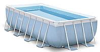 Глубокий прямоугольный каркасный бассейн с насосом и лесницей Intex 400х200х100 см (28316)