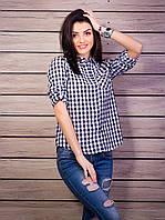 Молодежная рубашка на лето в черно-белую клетку