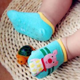 Носки - следы антискользящие Dear Baby Бирюзовые с хрюшей