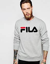 Спортивная кофта Fila, Фила, свитшот, трикотаж, мужской, серого цвета, копия