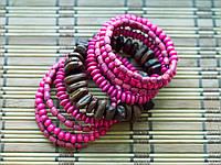 Браслет спираль дерево розовый