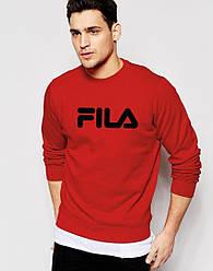 Спортивная кофта Fila, Фила, свитшот, трикотаж, мужской, красного цвета, копия