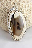 Массивный кулон серебряный с агатом  коричневый с белым