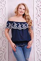 Легкая красивая темно-синяя летняя блуза Анна ТМ Таtiana 52-58  размеры