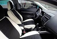 Авточехлы из экокожи белые с черным на  Mazda 3 c 2003-2010г. Хэтчбек.