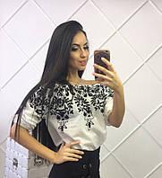 Женская невероятно красивая кофта на резинке с вышивкой