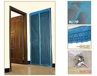 Москитная сетка на двери на магнитах  120*210 голубой, фото 1