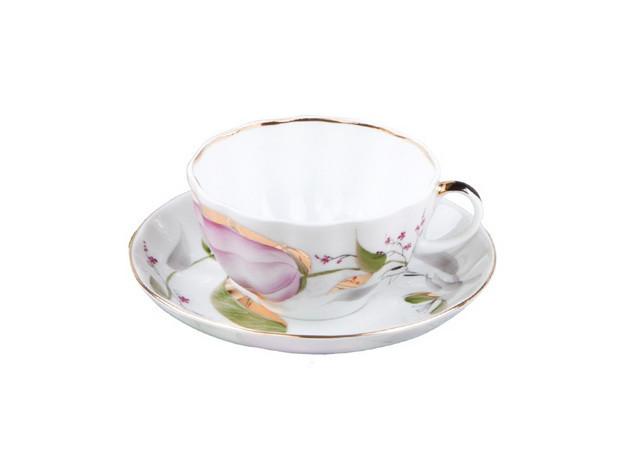 Чашка чайная с блюдцем И.Ф.З. Тюльпан Розовые тюльпаны 250 мл 10016